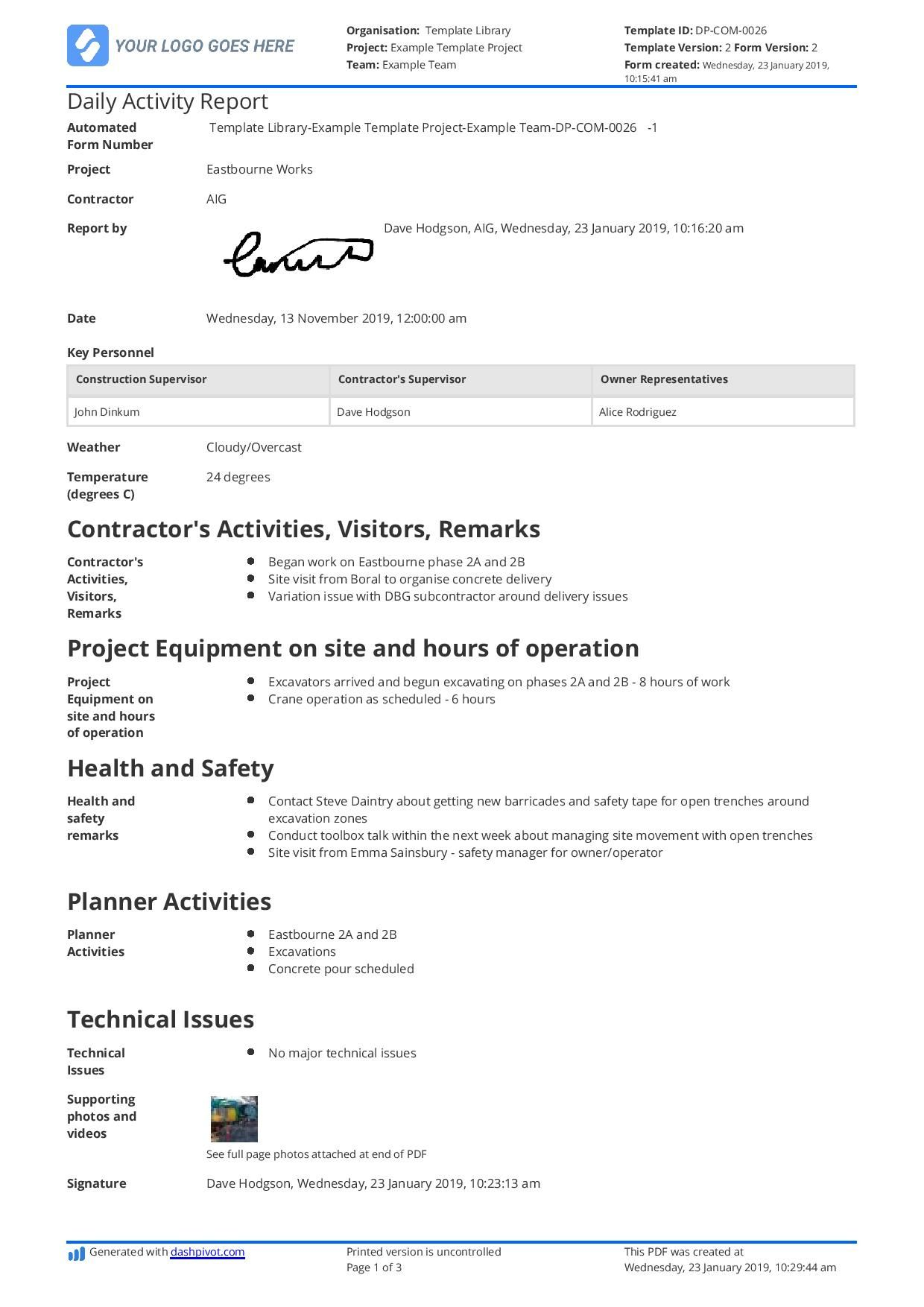 The Marvelous Daily Activity Report Template Free And Better Than