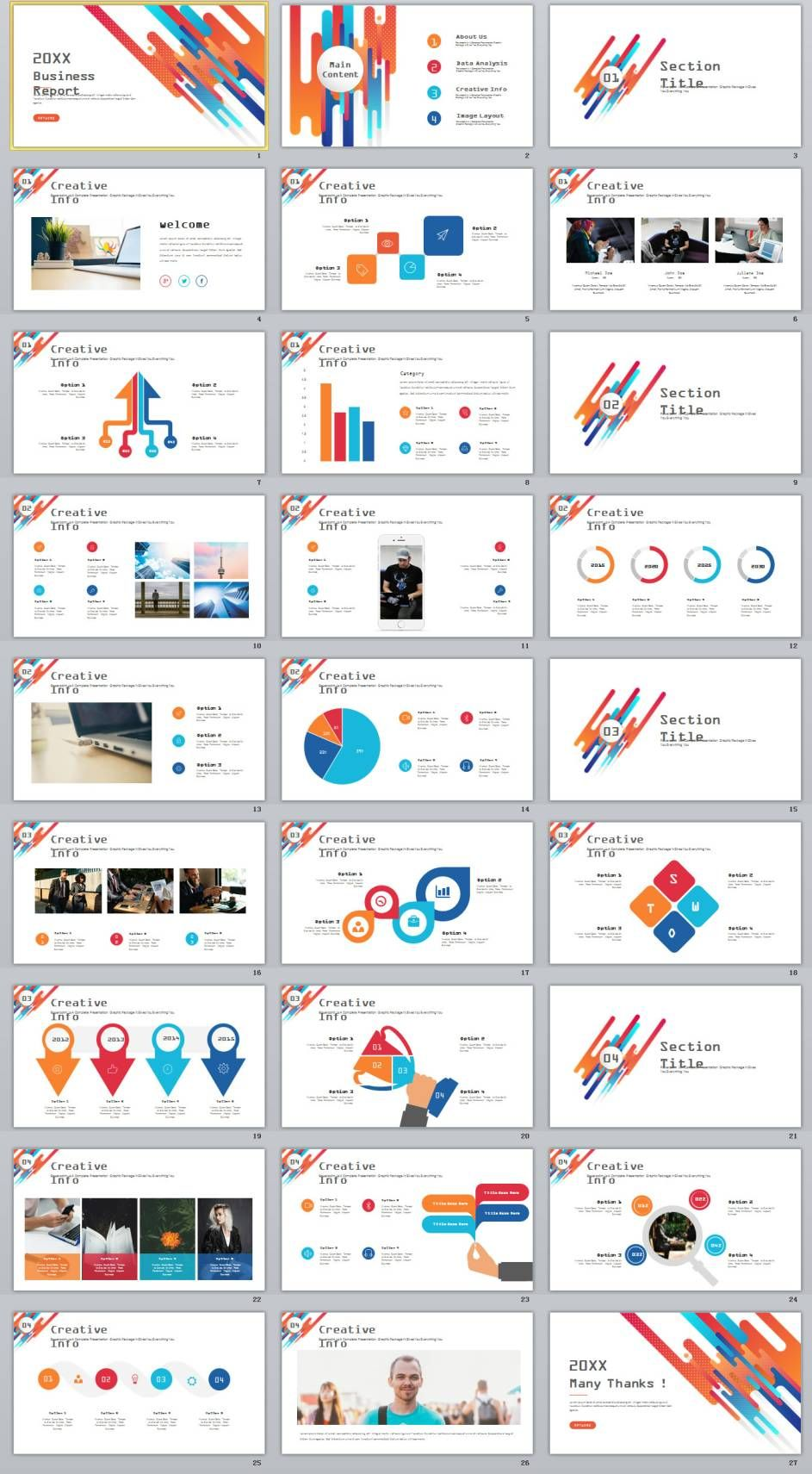 Creative Infographics Report Powerpoint Template  Ppt