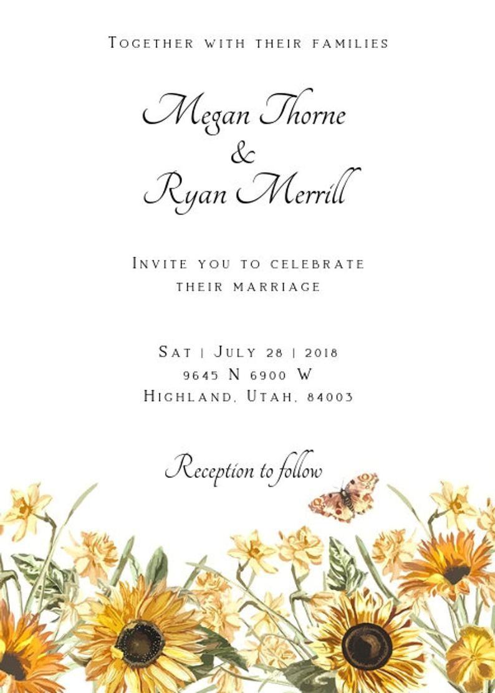 37++ Sunflower wedding invitations templates info