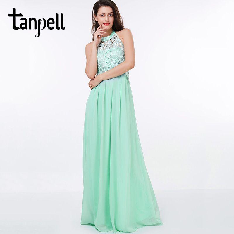 Click to Buy << Tanpell halter prom dress cheap green sleeveless ...