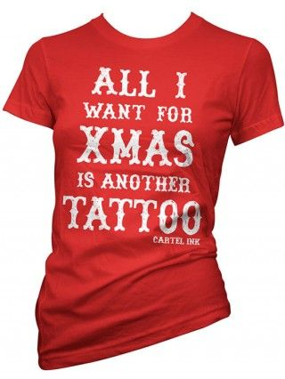 "Women's ""All I Want For Christmas"" Tee by Cartel Ink (Red)"