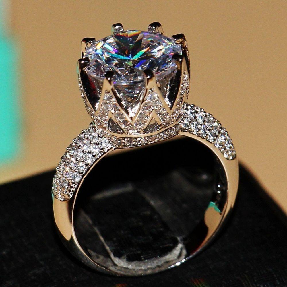 White Topaz 925 Sterling Silver Crown Ring White topaz