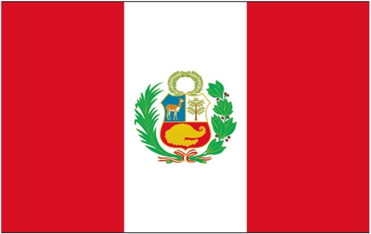 4 Gbp Peru Sleeved Courtesy Flag Ideal For Boats 45cm X 30cm