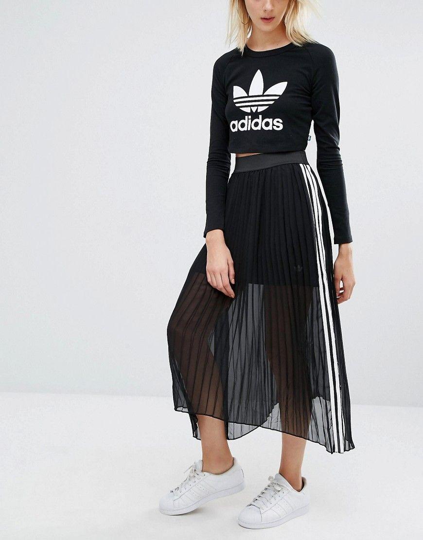 f5071dadaa2 adidas Originals Pleated Maxi Skirt With 3 Stripe