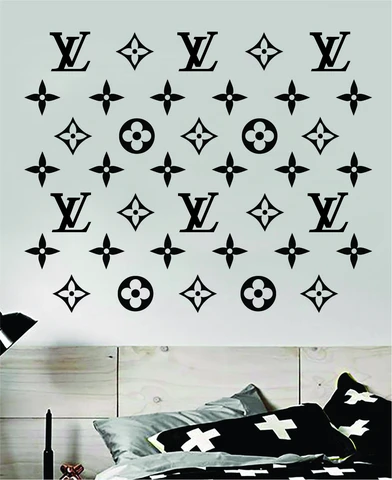 Louis Vuitton Logo Pattern Wall Decal Home Decor Bedroom Room