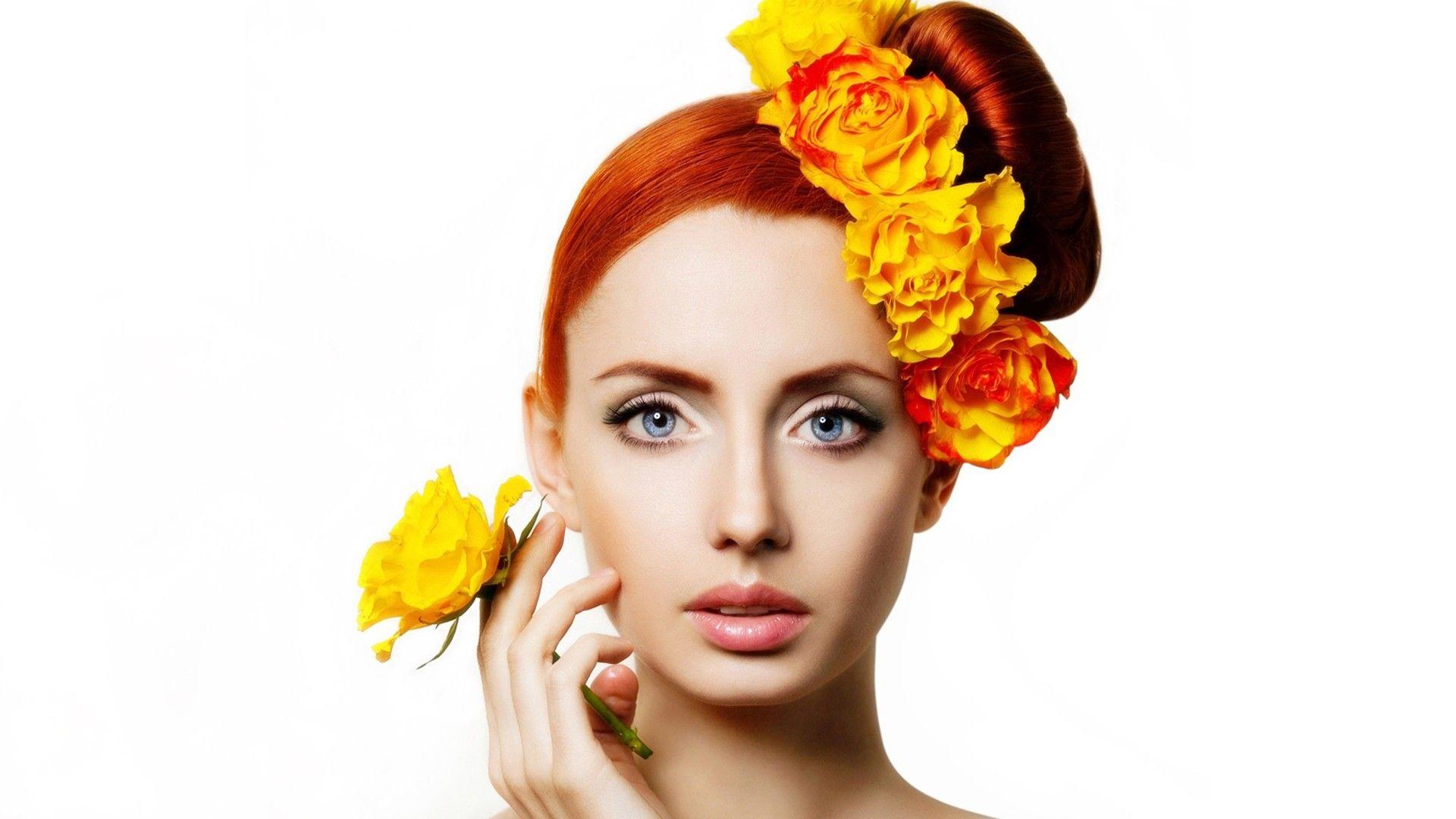 women closeup eyes flowers redheads models lips glamour