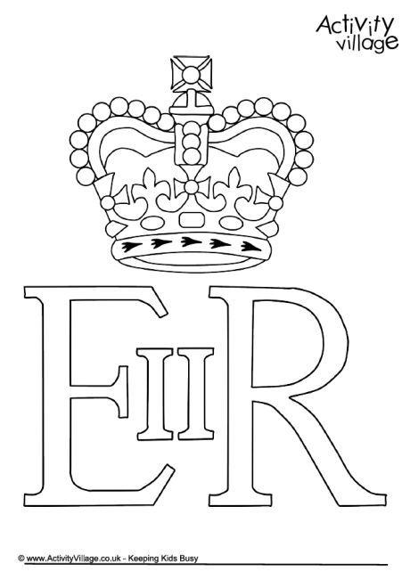 queen elizabeth ii royal cypher colouring page  queen