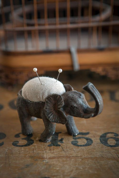 """This adorable pewter Elephant Pin Cushion is a unique treasure that would make the perfect gift for the crafty animal lover or seamstress in your life! Dimensions: 4.5""""l x 1.5""""w x 3""""h"""