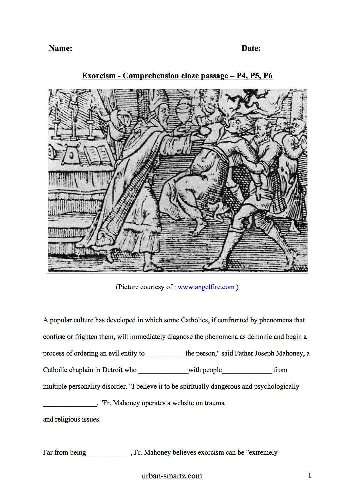 Worksheets Cloze Passages Popular Culture Parents As Teachers [ 1753 x 1240 Pixel ]