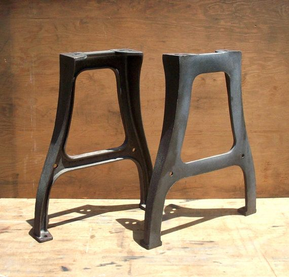 Vintage Industrial Cast Iron Factory Table Legs Pair Set Of 2 Raw Steel Iron Factory Machine