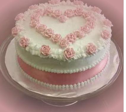 Round white valentine cake with light pink cake decor or little girls bu0027day & Round white valentine cake with light pink cake decor or little ...