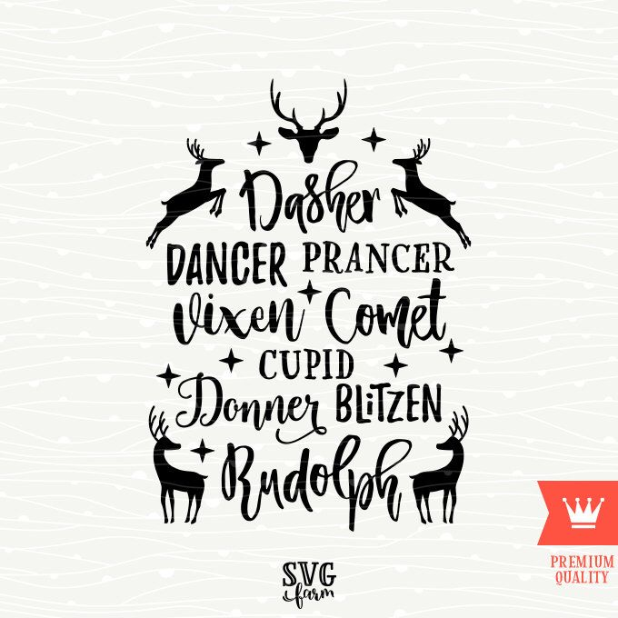 reindeer names christmas svg decal cutting file merry christmas reindeer transfer for cricut explore silhouette cameo cutting machines by svgfarm on etsy