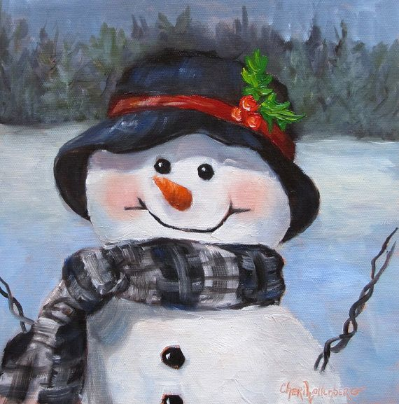 Whimsical Snowman III 6x6 Print of Original by artprintsbycheri, $15.00