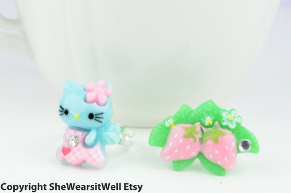 Blue Hello Kitty With Angel Wings and Pink by SheWearsitWell, $6.50