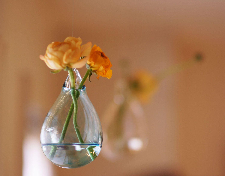 Hanging glass flower vase hand blown glass art transparent pale