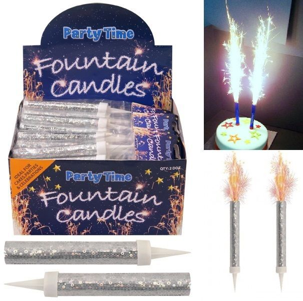 Ice Fountain Candles Sparkiling Sparklers Birthday Wedding Cake