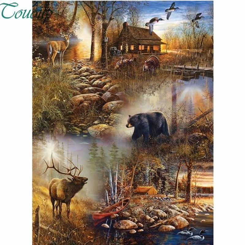DIY 5D Full Drill Diamond Painting kit Moose Cross Stitch Embroidery Home Decor