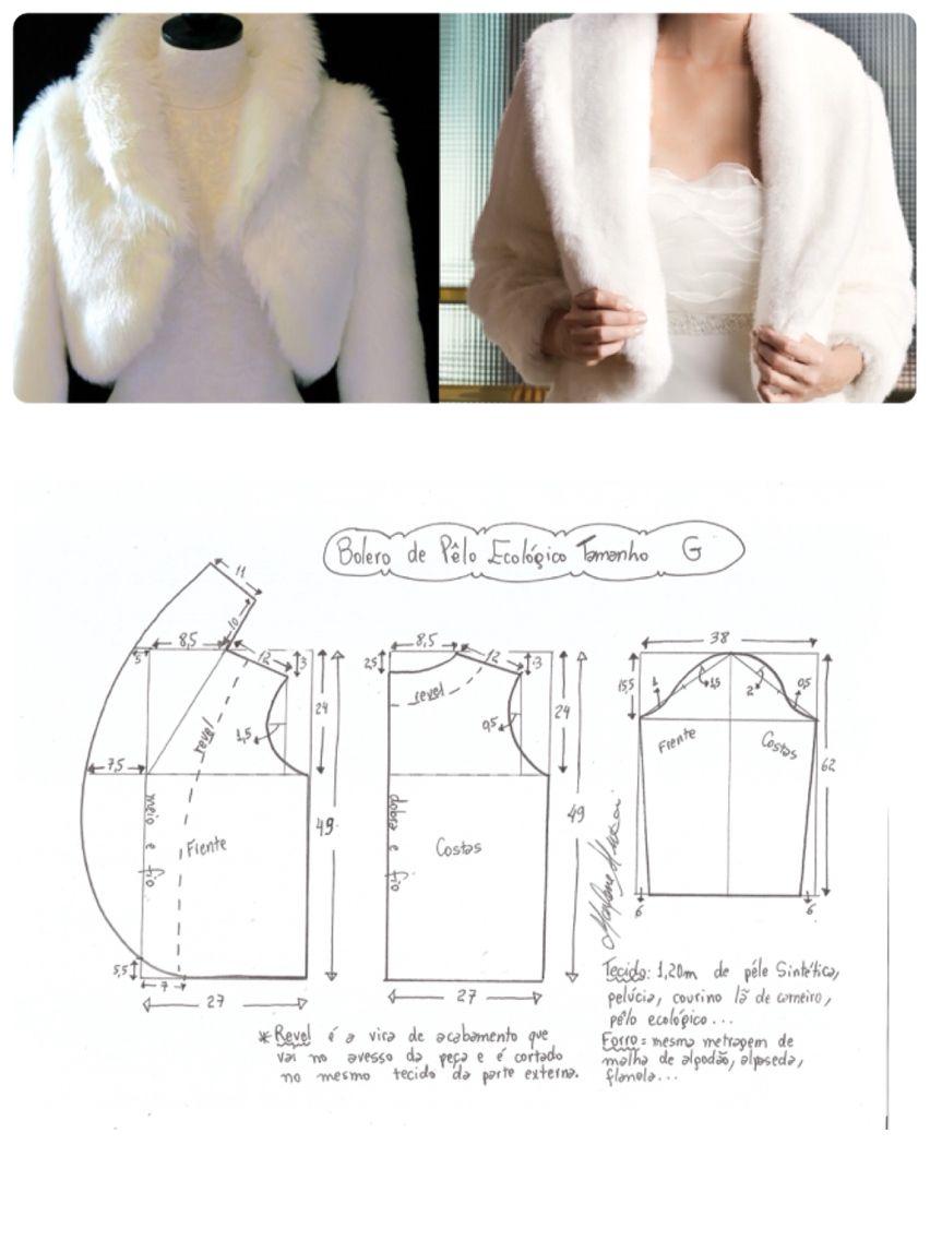 Molderia bolero de piel | patrones | Costura, Molderia y Moldes