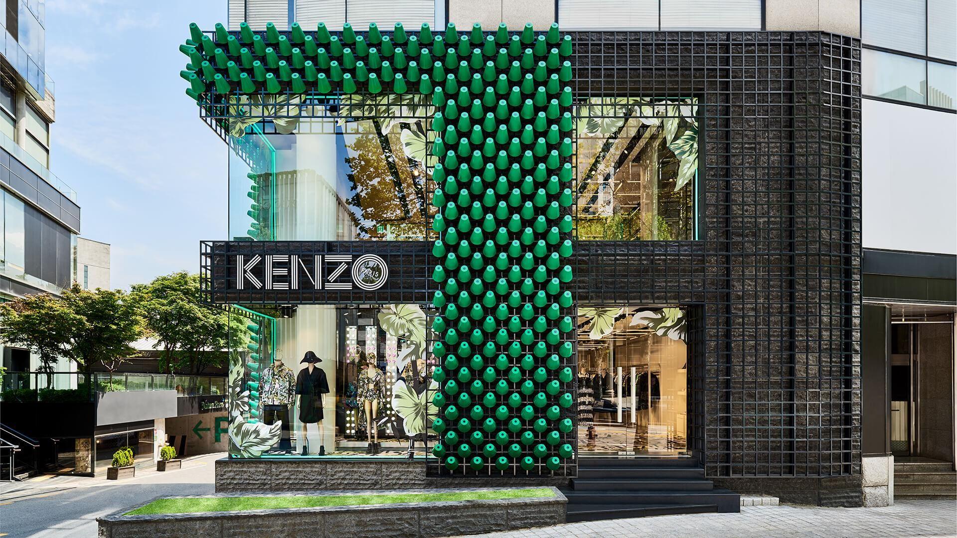 Kenzo Presents A Fashion Forward Facade To Win Over Shoppers In Seoul Facade Retail Facade Facade Design