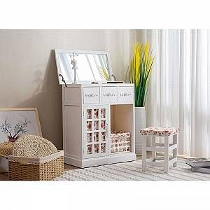 MERIDEN FURNITURE Cherry Tree Furniture 3-Drawer Shabby Chic Dressing Table Set Dresser with