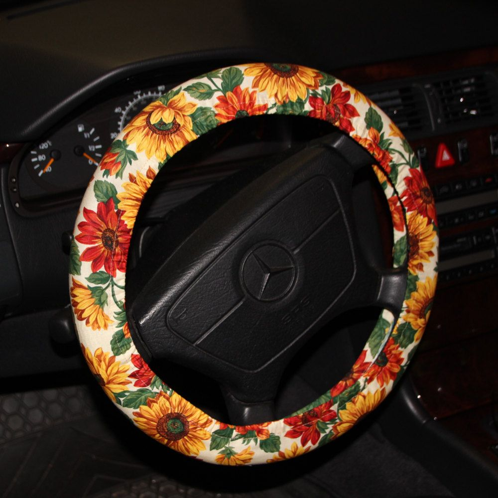 Sunflower Steering wheel cover / Floral wheel cover /Yellow green wheel cover /hostess gift idea /women;s wheel cover / car accessories . by SouthernAplus on Etsy