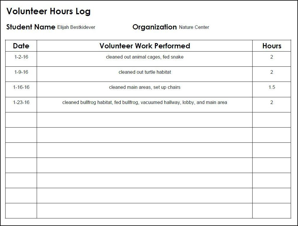 Homeschool High School Volunteer Log School volunteer