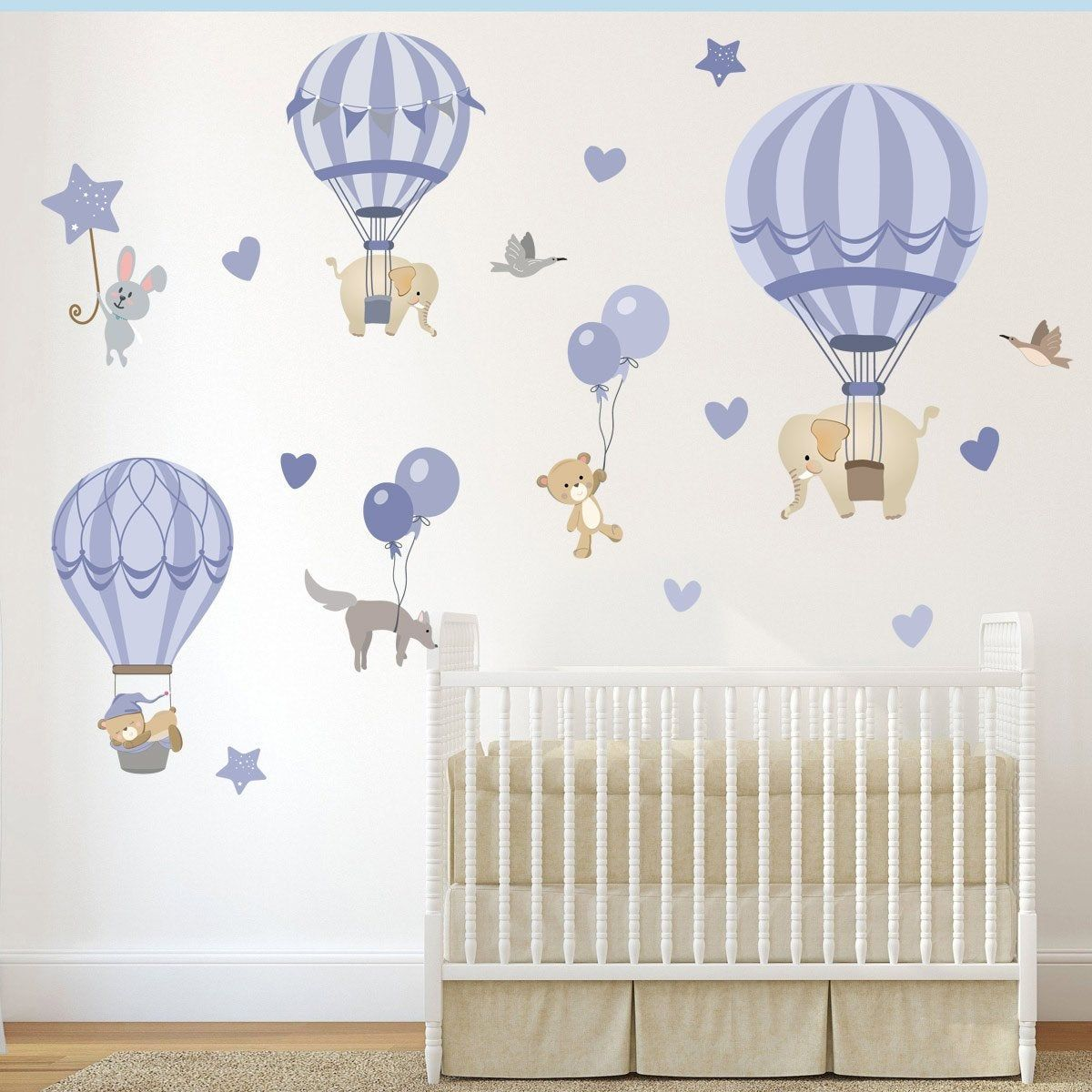 Nursery Wall Stickers Hot Air Balloons With Elephant Bears Etsy Nursery Wall Stickers Nursery Wall Decals Boy Kids Wall Decals
