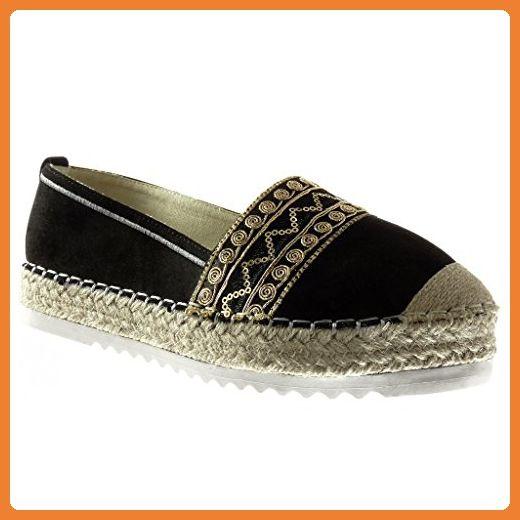 Angkorly Damen Schuhe Espadrilles Mokassin - Plateauschuhe - Slip-On - Bestickt - Seil - Fertig Steppnähte Keilabsatz High Heel 3 cm - Beige R8 T 38 l5X3k2Q