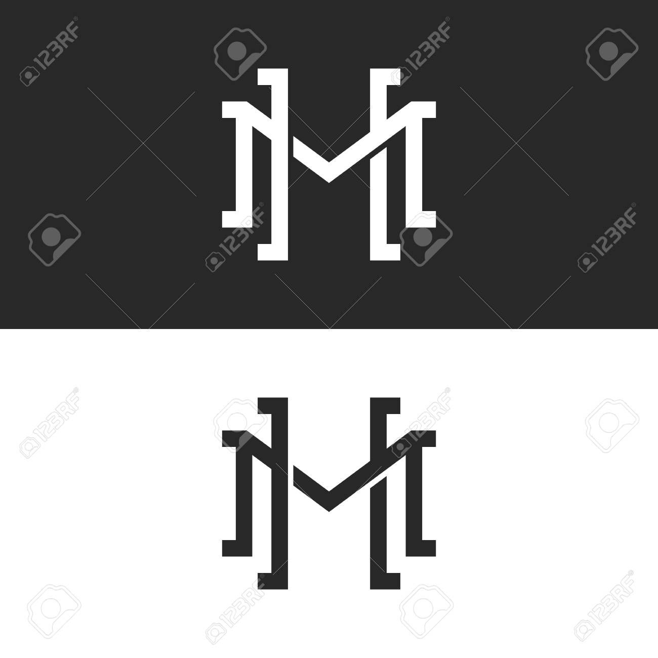 Initials HM or MH overlapping letters logo design, two