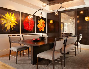 Room Bold Color Contemporary Dining