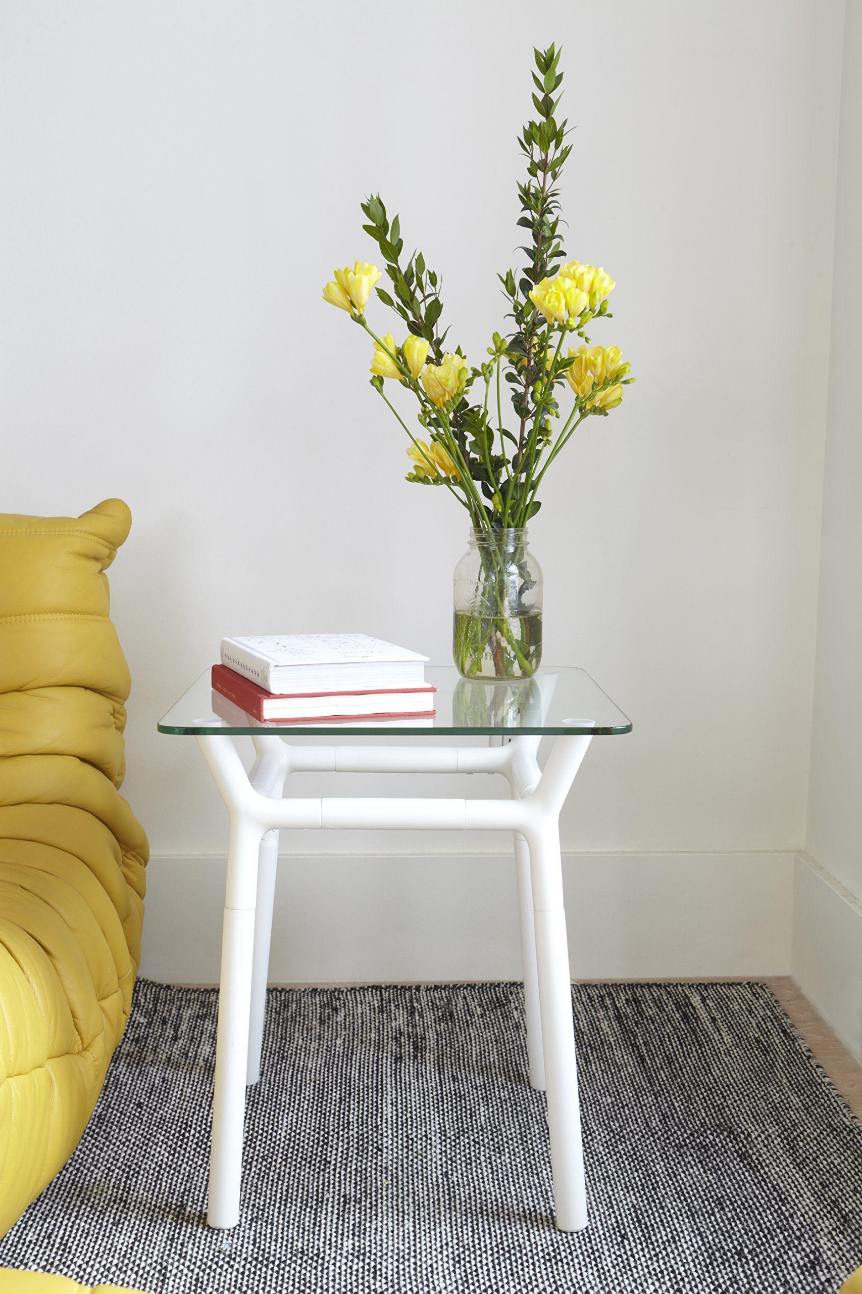 Amazon.com - Umbra Konnect Glass-Top Side Table, White -