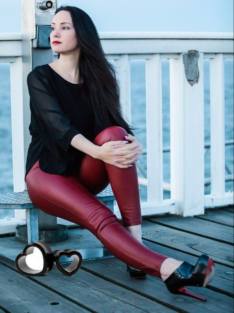 Amateur fashion blogger in red leather leggings and black high heel ankle  booties #highheelsboots