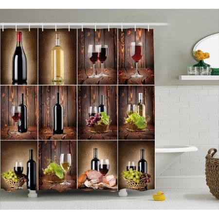 Wine Shower Curtain Themed Collage On Wooden Backdrop With Grapes And Meat Rustic Country