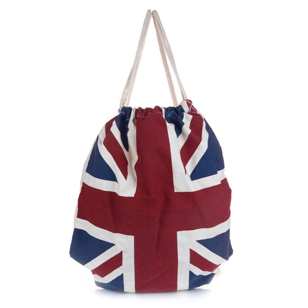 Drawstring Backpack Knitting British Flag Rucksack