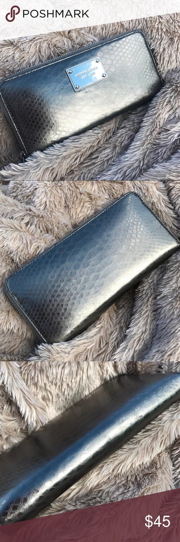 594b41c2f0e303 ... Saffiano Leather Continental Wallet. michaelkors all Michael Kors Jet  Set gunmetal zip-around wallet .