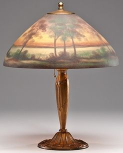 lighting, America, Jefferson reverse painted table lamp
