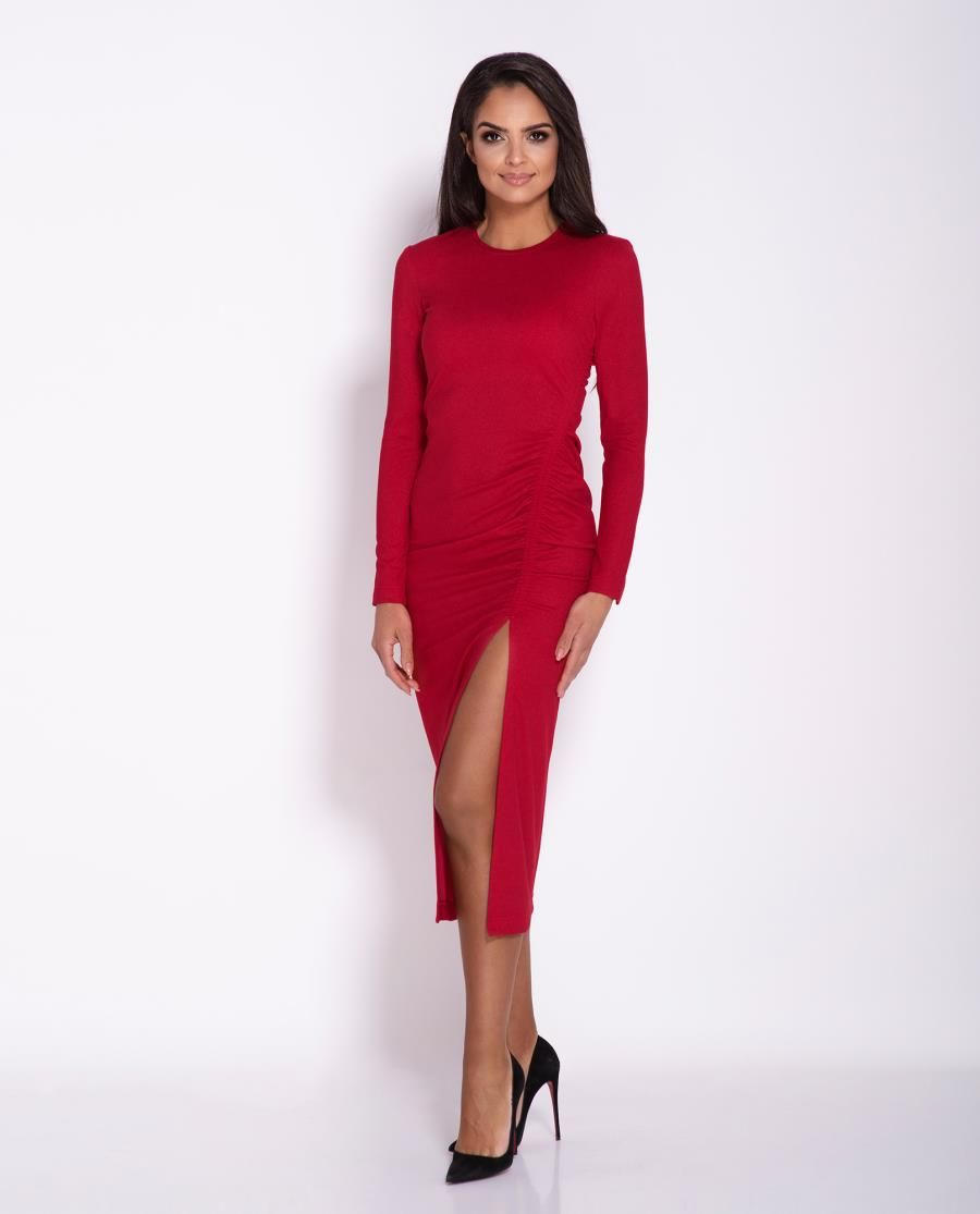 6588a186f6 Dopasowana Sukienka z Długim Rękawem i Rozcięciem Czerwona Malaga w ...