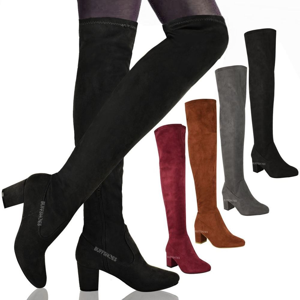 WOMENS LADIES OVER THE KNEE THIGH HIGH LOW BLOCK HEELS BOOTS WORK STRETCH