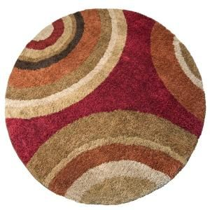 Orian Rugs Eclipse Rouge 94 In Round Area Rug 299 Home Depot