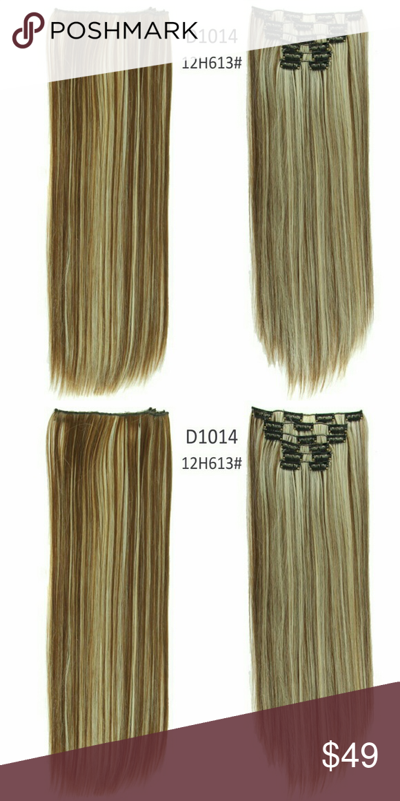 Full Head Clip In Extension Heat Resistant Synthetic Hair 7 Pieces