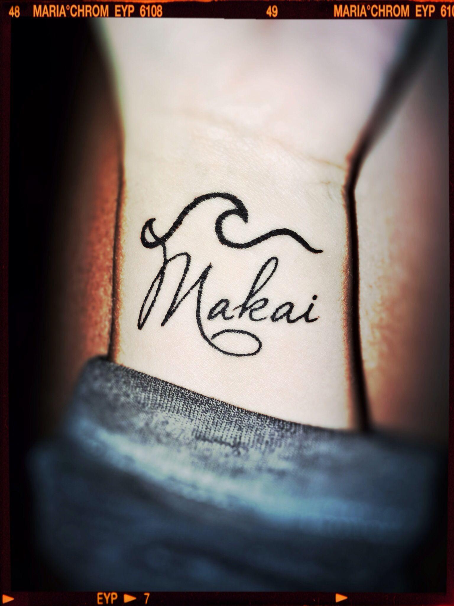 Wave Tattoo Makai(Hawaiian directional term) meaning= towards the
