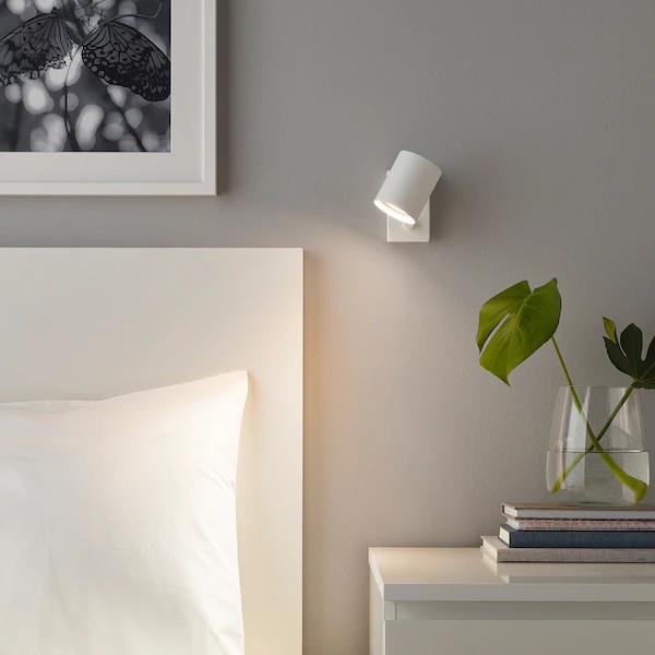NYMÅNE Apliquelámpara lectura instal fija, blanco IKEA en