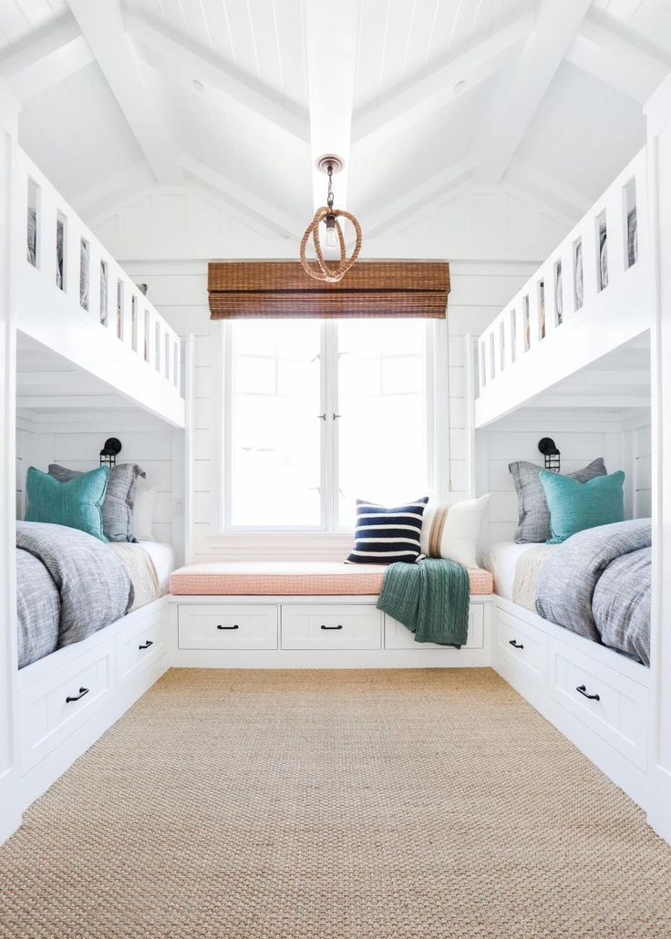 Beach Inspired Kids Room Boasts Built In Bunk Beds Http Centophobe Com Beach Inspired Kids Room Boasts B Bunk Beds Built In Lakehouse Bedroom Home Bedroom