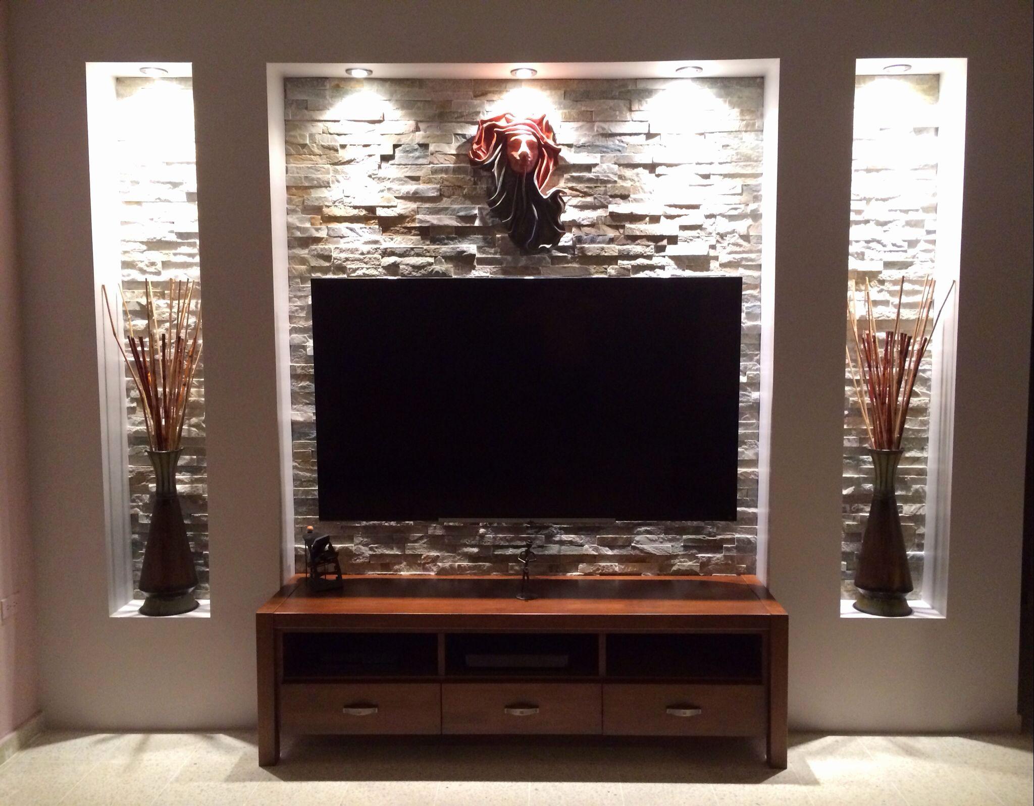 Wohnzimmer Tv Wand Ideen Genial Steinwand Mediawand Eigenbau
