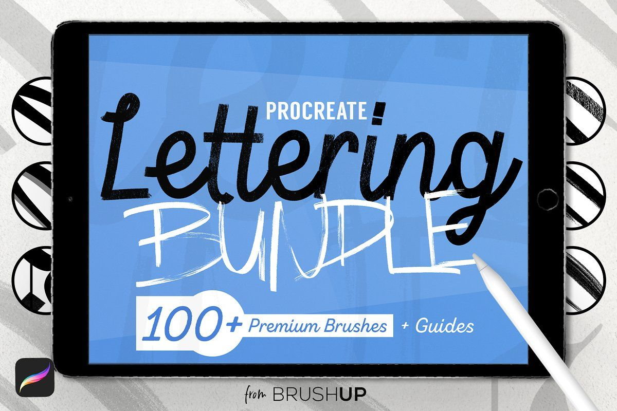Photo of Ad: Lettering Bundle for Procreate by BrushUp on Creative Market. ▁▁▁▁…