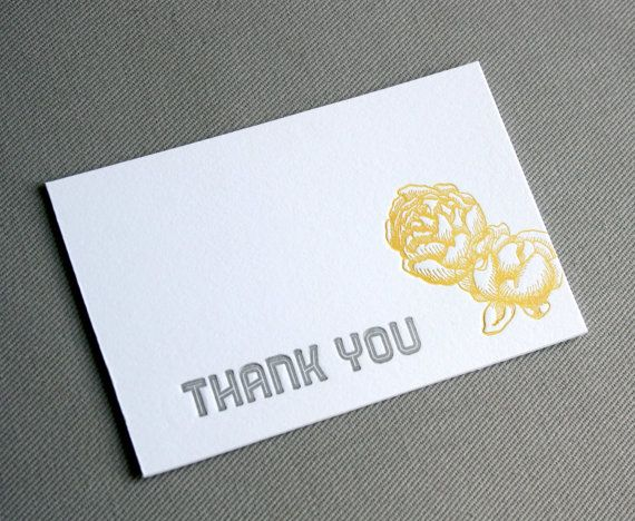 Pack of 5 yellow and silver-grey Letterpress Peony Rose Thank You Cards with lined envelopes :)