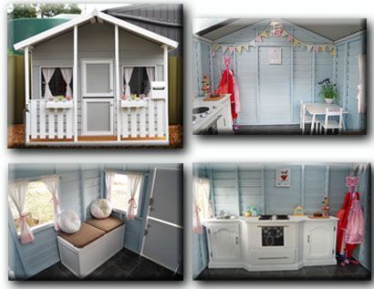 Decorated painted cubby house playground items for Wendy house ideas inside