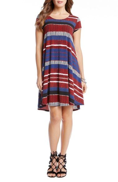 Karen Kane 'Maggie' Stripe Print Cap Sleeve Trapeze Dress available at #Nordstrom