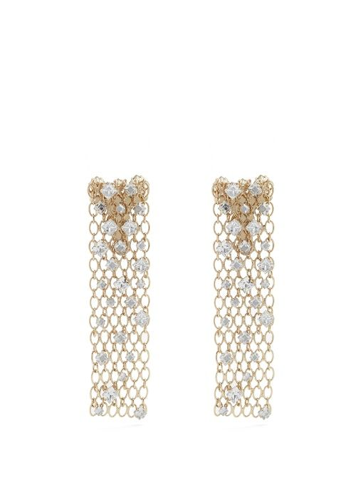 Lanvin Crystal Embellished Chain Clip On Earrings
