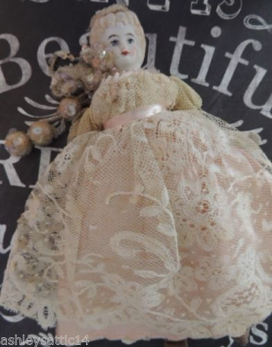 Antique-German-China-Doll-7-IN-Blonde-China-Head-Doll-Lace-Gown-Bisque-Arms